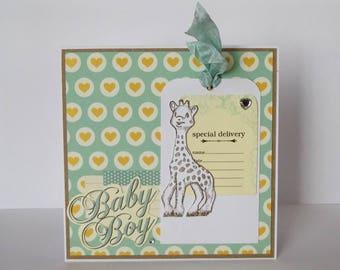 Congratulations baby boy - baby boy - giraffe - card made handmade + envelope