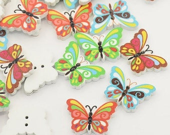 set of 6 24 mm new Butterfly wooden buttons