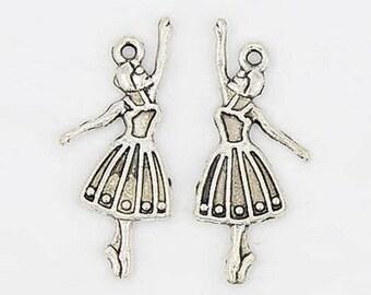 set of 10 charms charm pendant bead scrapbooking dancer dance girl new