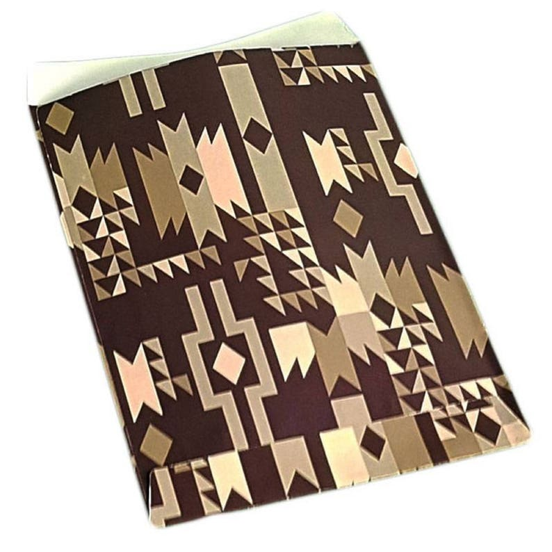 lot 50 pouches bags fancy paper 10 x 6 Brown geometric gift wrapping jewelry