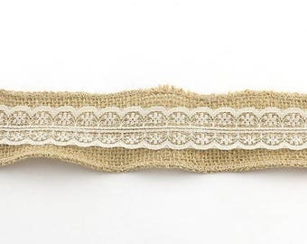 hemp with 48 mm new linen lace Ribbon