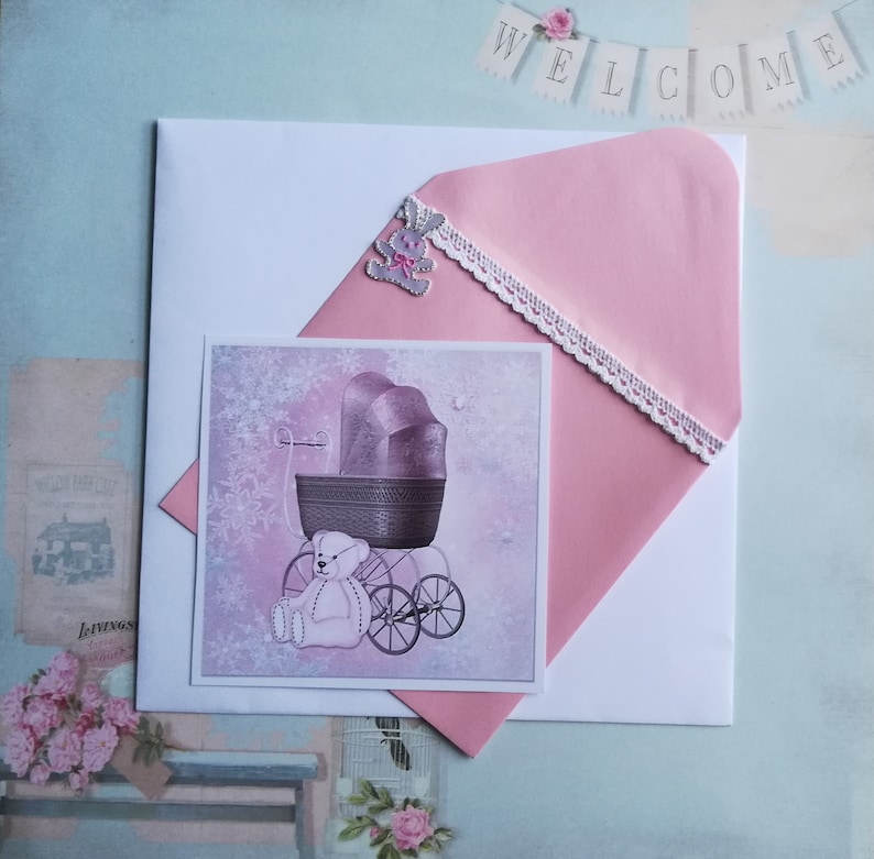 Congratulations Boy Version: with VERITABLES Mini Knitted Layettes Baptism Card Birth SINGLE MODEL.