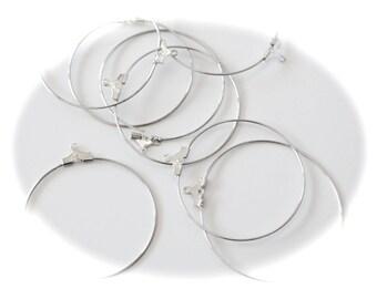 6 supports ANNEAUX ronds CRÉOLES, 45 x 40 mm, BOUCLES D oreilles, métal  argenté légèrement mat, pour créations bijoux, style gipsy, bohème 654e254de48e