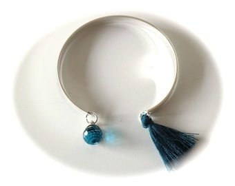 KIT DIY Bangle cuff open silver Pearl glass faceted blue Peacock and cotton tassel