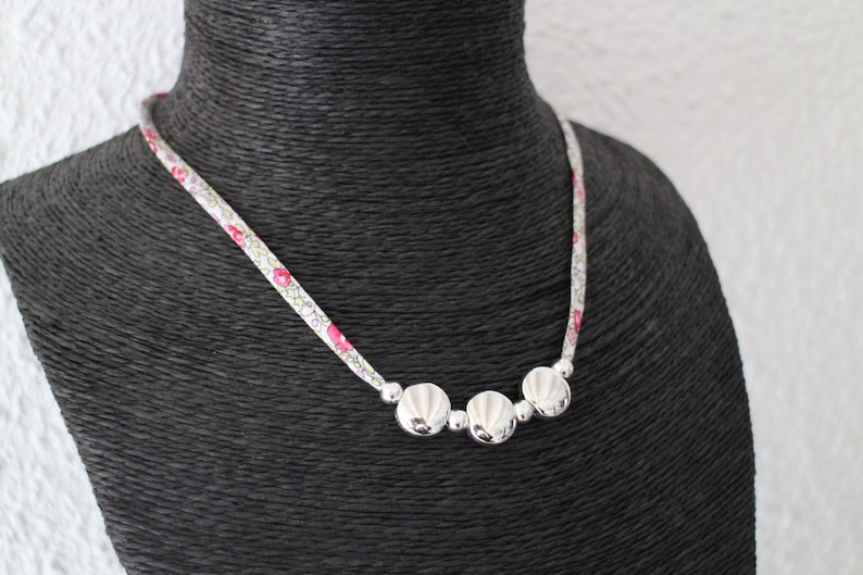 Classic Floral Liberty necklace and smooth silver metal beads handmade