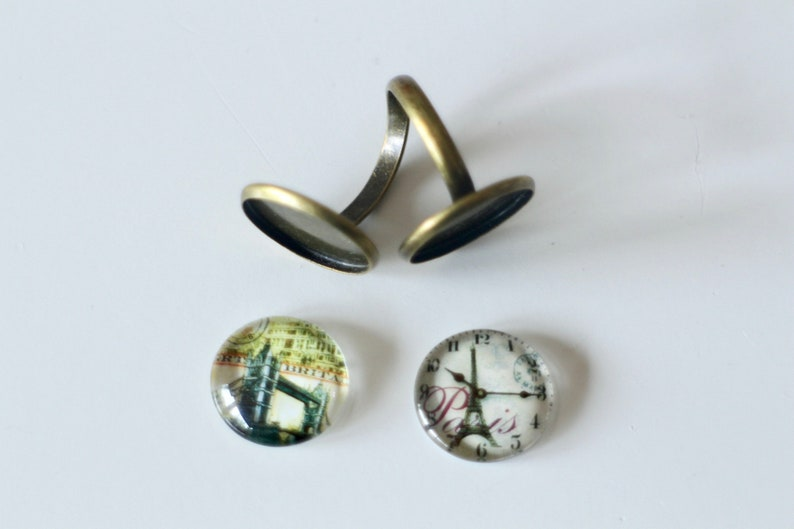 KIT DIY BAGUE cabochons Paris Eiffel Tower and London Tower Bridge in glass and bronze metal