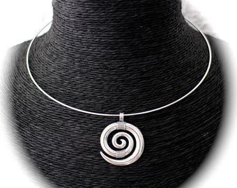 KIT DIY Bangle silver spiral pendant Choker necklace