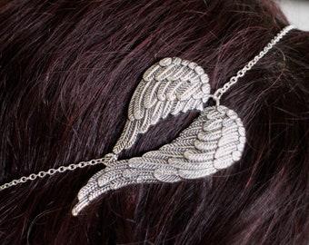 KIT DIY headband head jewel headband silver textured metal Angel Wings