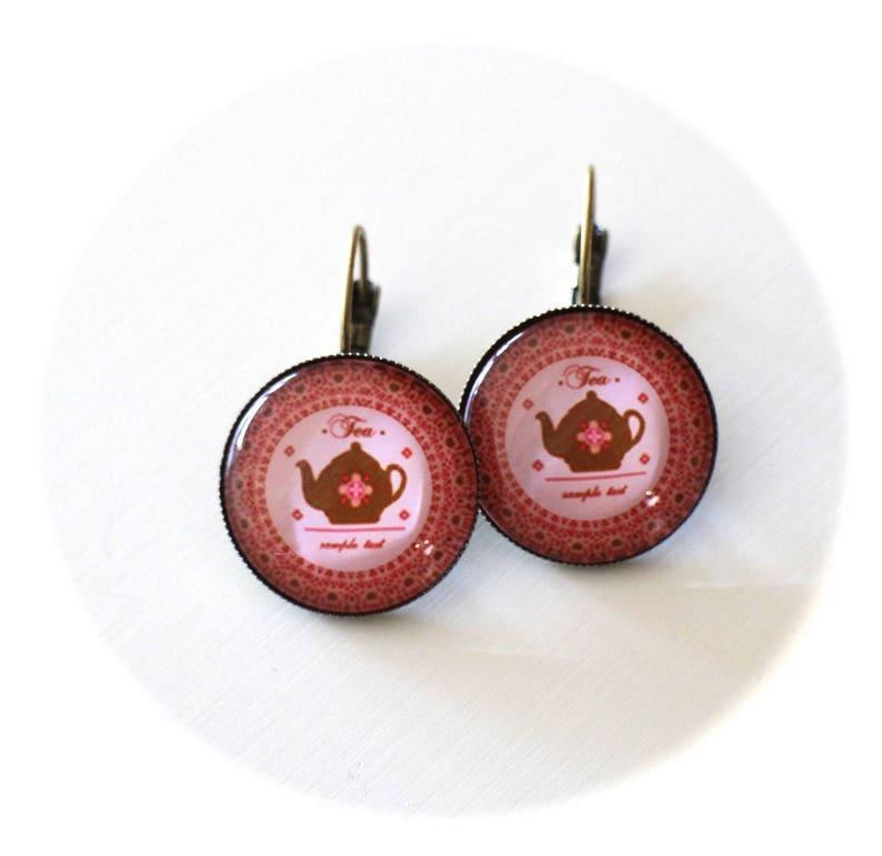 DIY kit earrings sleepers teapots old pink and metal bronze