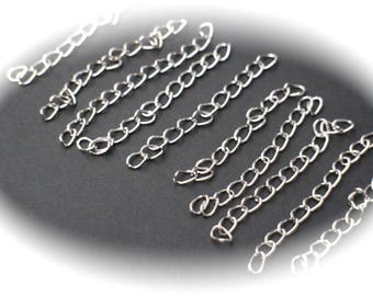 10 chains of adjustment extension Silver 50 mm, nickel and lead free metal