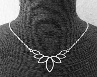 KIT DIY necklace lotus flower and fine silver metal chain