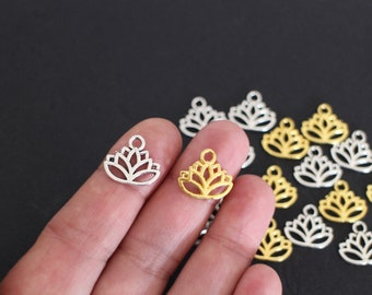10 lotus flowers in silver or gold 17 x 14 mm metal