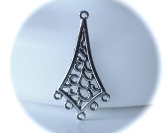 1 connector diamond openwork 5 rows silver nickel and lead free metal