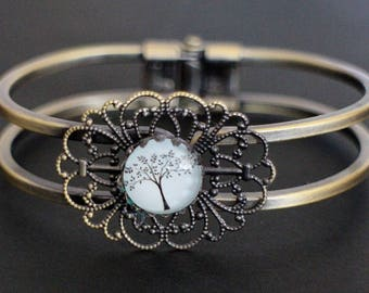 CREATION LIPIKI: bracelet double channel filigreed print tree of life in blue glass and metal bronze