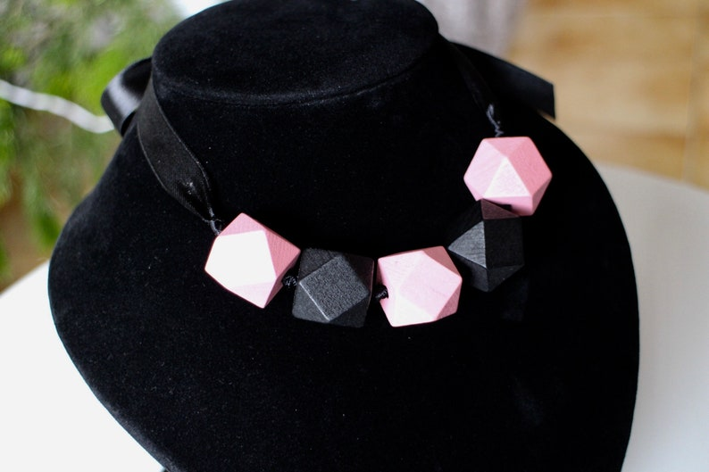 Faceted wooden beaded necklace and handmade black satin ribbon