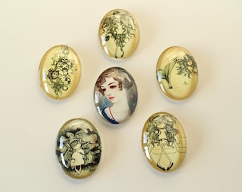 6 large oval glass cabochons sepia color masks Mermaid girls cat woman