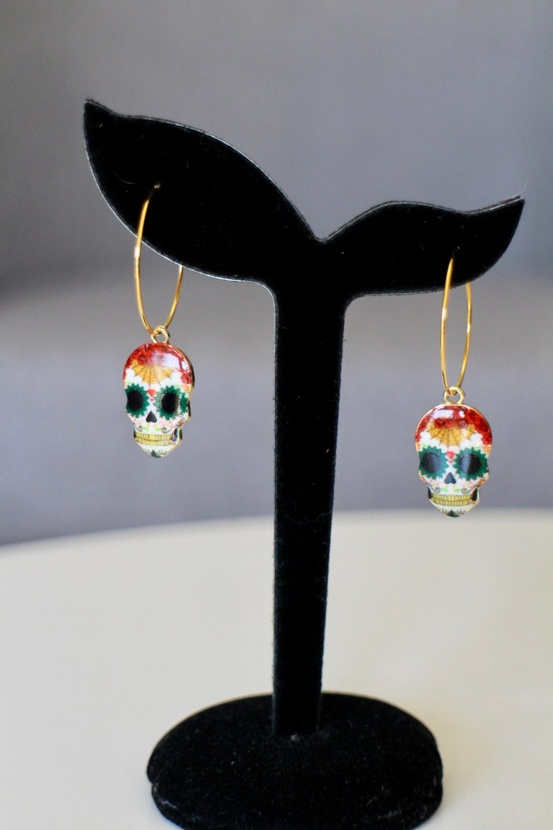 Gold-plated creoles and multicolored enamelled skulls Handmade