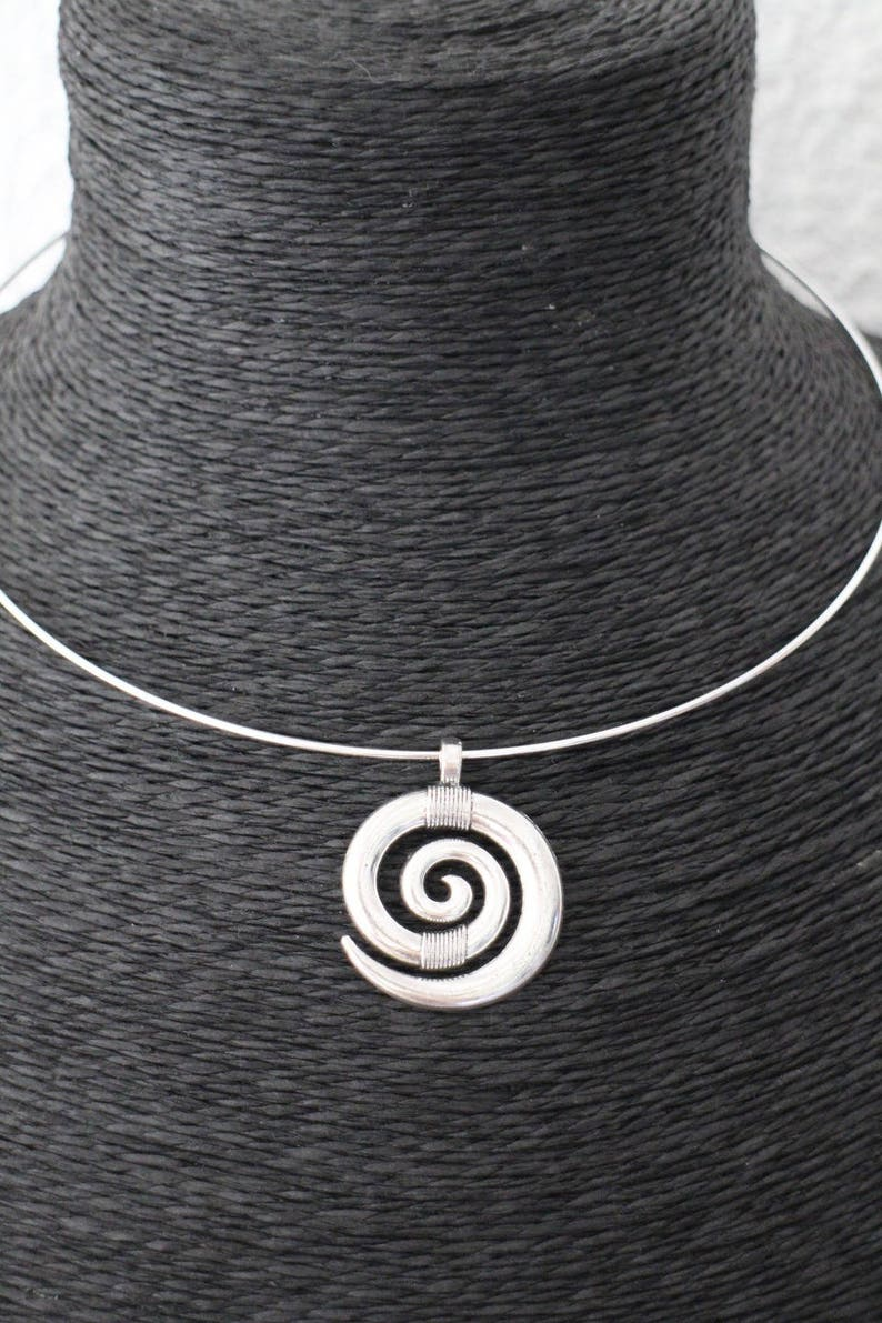 KIT DIY necklace Bangle with silver spiral pendant