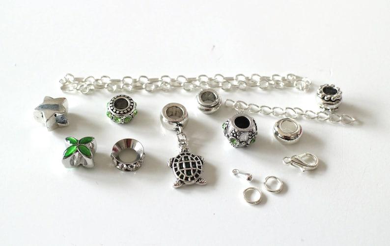 KIT DIY BRACELET green and silver enamelled turtle