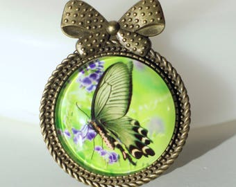 KIT DIY round BROOCH green and purple support Butterfly accented with a bronze metal bow