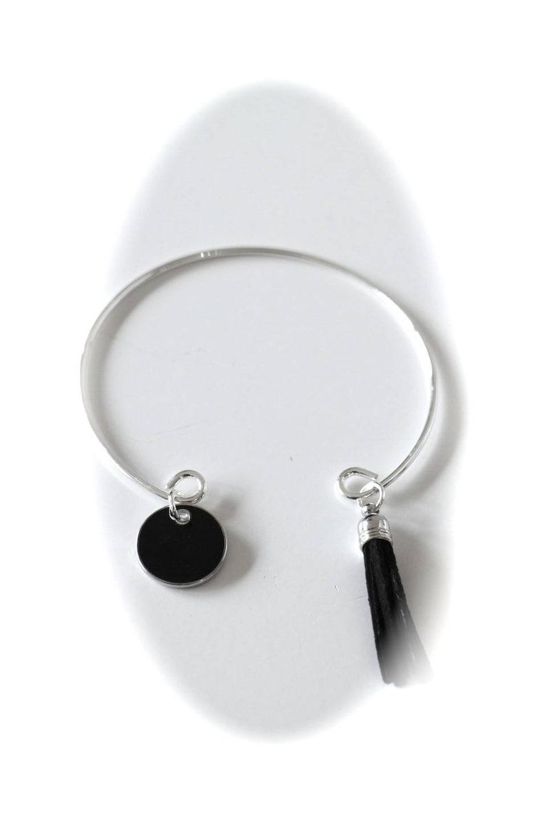 DIY KIT BRACELET Bangle sequin black enamel and Pompom black suedette
