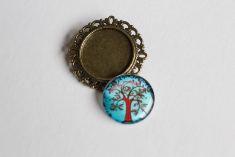 KIT DIY round brooch cabochon tree of life red and blue glass and metal bronze