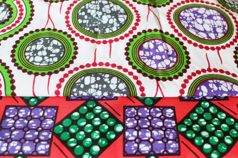 2 wax African cotton fabric coupons
