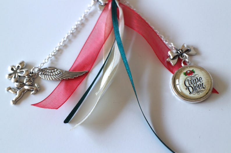 KIT DIY bag jewel cabochon glass Carpe Diem charms and ribbons and silver metal