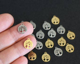10 charms trees of life in stainless steel silver and gold 12 x 10 mm