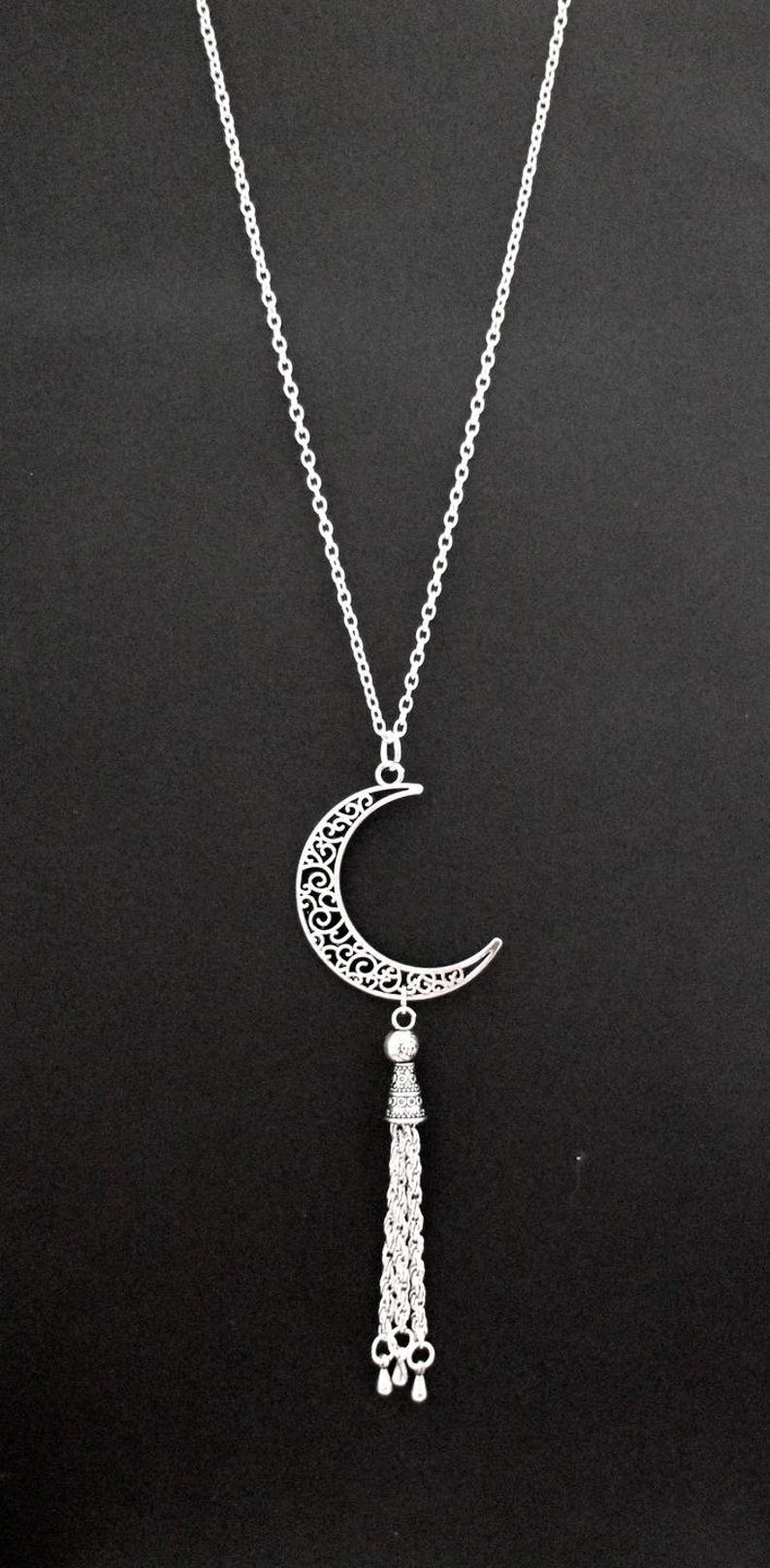 DIY KIT Moon necklace chiseled and Pompom silver metal