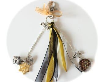 KIT DIY jewel of Buddha bag charm lotus and ribbons
