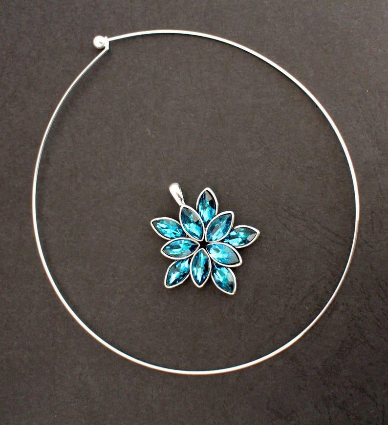DIY KIT flower print rhinestone blue Peacock glass pendant necklace