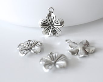 3 charms, flowers, 23 x 20 mm, silver-plated, nickel and lead free, for your jewelry creations, romantic, Bohemian