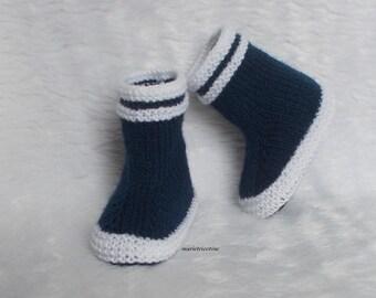 1f87a7652d73f chaussons bébé chausson laine bottes de pluie chaussons 0 3 mois tricotés  main bleu marine blanc cadeau naissance