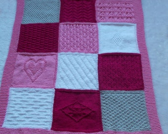 baby blanket wool hand knit color checkered 80 x 65 cm marietricotine