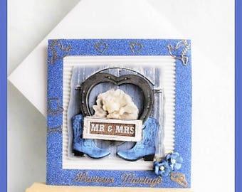 Blue 'Mr & Mrs' wedding card