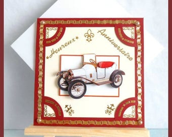 Burgundy birthday card 'old car'