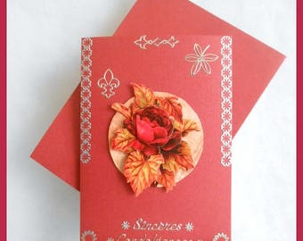 Pink, red and Burgundy sympathy card, 3D