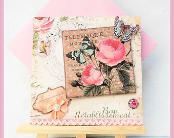 beige card 'feel better', roses and Butterfly