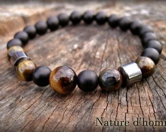 Jewelry men - men's Tiger eye, hematite and onyx Ref Bracelet: BN-511