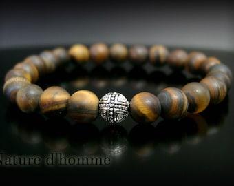 Mens Ref matte Tiger eye Bracelet: BN-369