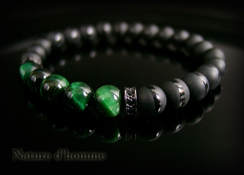 BN-499 Jewelry men a men/'s bracelet with onyx stones and Green Tiger eye Ref carract\u00e8re