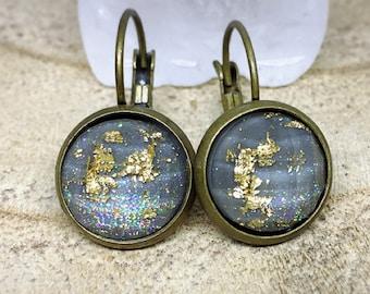 Earrings grey Stud Earrings, bronze and gold glitter