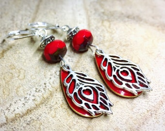 Red Feather Bohemian earrings Peacock