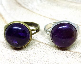 Bronze or silver 12mm Amethyst Adjustable ring