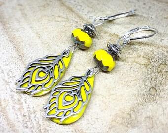 Bohemian yellow feather earrings Peacock
