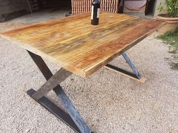 Table Industrielle Metal Et Bois Table A Manger