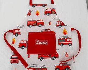 Personalised children's apron fire truck patterns