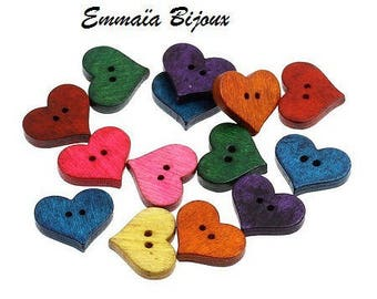 12 buttons 20 mm x 16 mm wooden hearts