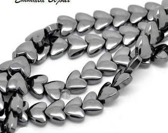10 beads Hematite heart 8 x 9